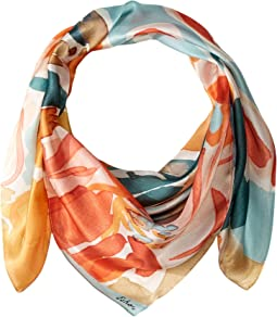 Watercolor Floral Silk Square Scarf