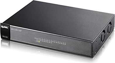 Zyxel 16-Port Unmanaged POE Ethernet Switch with 10/100 Mbps [ES1100-16P]