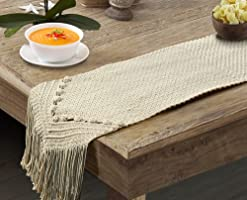 Party Stuff Handwoven Cotton Bohemia Macramé Dining Long Table Runner for Bedroom, Kitchen, Coffee Table Decor (Ivory,...