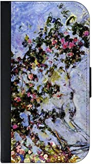 Claude Monet's The Rose Bush Print © iPhone 6, 6s Universal PU Leather Wallet Case with Flip Cover & Magnetic Clasp