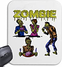 Mousepad ZOMBIE AT LUNCH WITH SUNGLASSES BIKER SHIRT WALKING ZOMBIE MOTORCYCLE CLUB DEAD GOTHIC CHOPPER DIXON BAND SHIRT for your laptop, notebook or PC Internet .. (with Windows Linux, etc.) in Whit