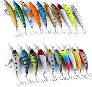 Fishing Lures Kit 2 Models Mixed Fishing Lure Minnow Crank Bait Fishing Tackle 20pcs