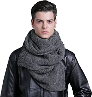 CACUSS Men's Solid Winter Scarf Long Knitted Neckwear Soft Warm Scarves