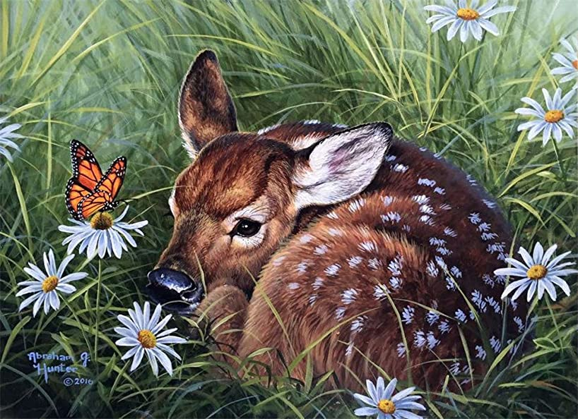YEESAM Art Paint by Number Kits for Adults Kids - Sika Deer and Butterfly 16x20 inch Linen Canvas (Without Frame)