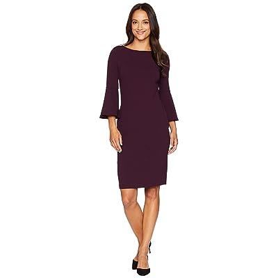Calvin Klein Bell Sleeve Sheath Dress CD8C133E (Aubergine) Women