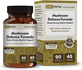 Mushroom Defense Formula by DailyNutra - Immune Support Supplement | Organic Mushrooms, Hot Water Extracted - Reishi, Chag...