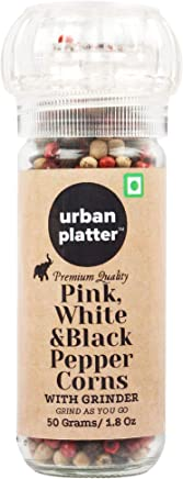 Urban Platter Pink, White & Black Peppercorns Grinder Bottle, 50g / 1.8oz [Mix of 3 Peppercorns]