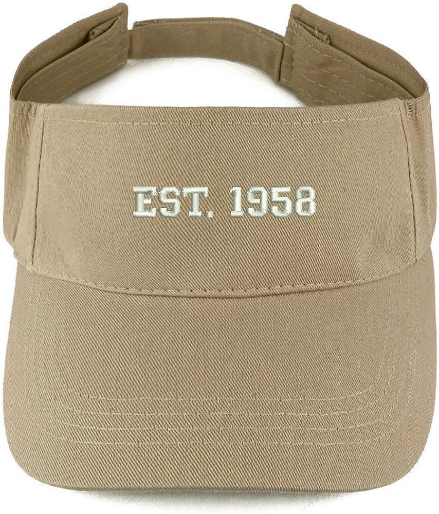 Trendy Apparel Shop EST 1958 Embroidered - 63rd Birthday Gift Summer Adjustable Visor