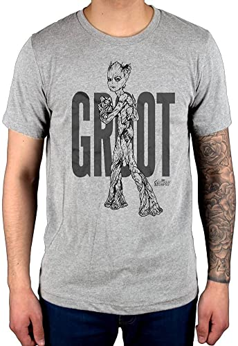 Official Marvel Comics Avengers Infinity War Teen Groot Flat Line Art T-Shirt Comic Book