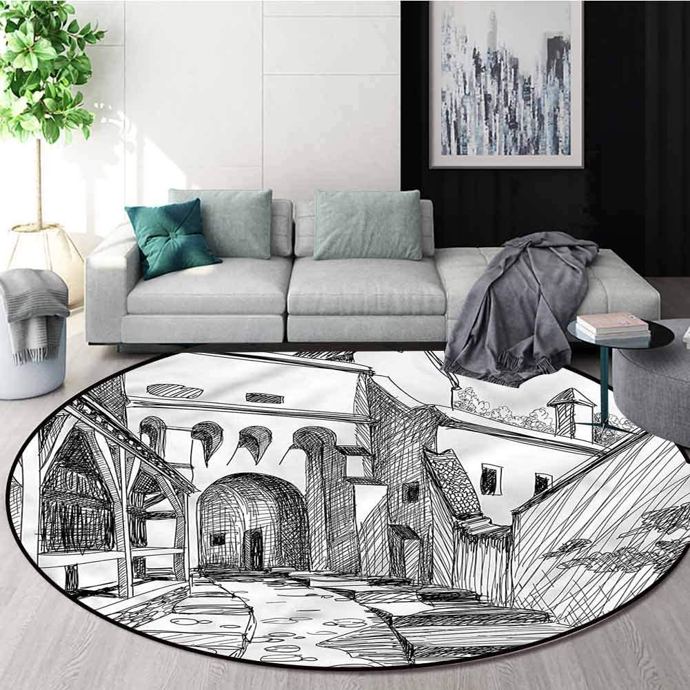 RUGSMAT Medieval Washable Creative Modern Rug Very popular! Citadel M Max 46% OFF Round in