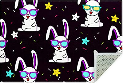 Unicey No-Shedding Non-Slip Machine Washable Rabbit Pattern with Glasses Rectangle Mat for Kitchen Entryway Laundry Bedroom Bathroom Sitting Room Carpet 63x47in