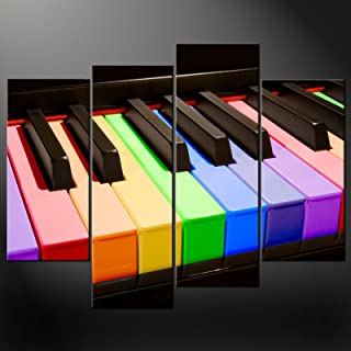 Canvas Print Wall Art Paintings For Home Decor Close-Up Of Corlorful Piano Keys 4 Pieces Panel Modern Giclee Stretched And Framed Artwork The Music Pictures Photo Prints On Canvas For Room Decoration