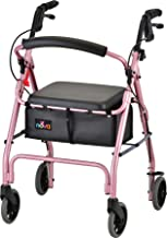 "NOVA GetGo Classic Rollator Walker (Standard Size), Rolling Walker for Height 5'4"" - 6'1"", Seat Height is 22.25"", Color Pink"