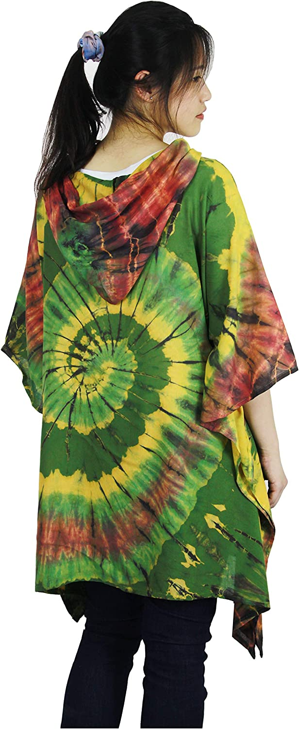 ATM Tie Dye Hoodies Blouse Tops Caftan Poncho Cover Up Spiral Real Handmade Plus size