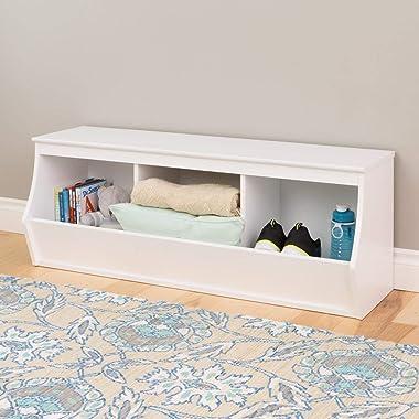 Prepac Monterey Stackable 3-Bin Storage Cubby, White (WUSM-0003-1)