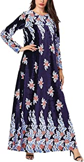 KRUIHAN Women Muslim Swing Maxi Gown - Floral Print Velvet Kaftan Long Sleeve Dubai Abaya Elegant Dress