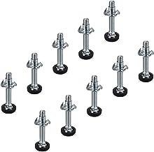 Set van 10 Verstelschroeven M8 x 45 mm met inslagmoer en kunststof voet