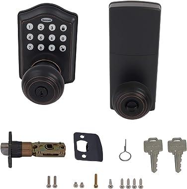 Honeywell Safes & Door Locks - 8732401 Electronic Entry Knob Door Lock, Oil Rubbed Bronze, 6.5 x 8.8 x 9 inches