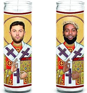 Celebrity Prayer Candles Baker Mayfield and Odell Beckham Jr Cleveland Browns Set - Funny Saint Candle - 8 inch Glass Prayer - 100% Handmade USA - Novelty Gift