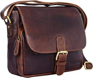 """STILORD Lucian"""" Vintage Umhängetasche Leder klein für Herren und Damen Schultertasche für 10.1 Zoll Tablet iPad DIN A5 Handtasche aus echtem Leder"""