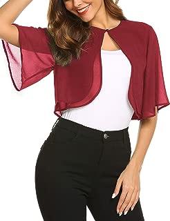 Teewanna Women's Short Sleeve Bolero Sheer Open Front Chiffon Shrug Cardigan