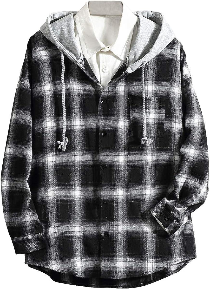 Pishon Men's Plaid Hooded Shirts Casual Long Sleeve Lightweight Button Down Shirt Jackets