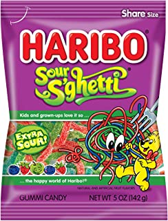 Haribo Gummi Candy, Z!NG Sour S'ghetti, 5-Ounce Bags (Pack of 12)