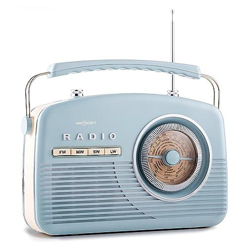 oneConcept NR-12 radio (modelo imitación años 50, receptor AM/FM/HF/LF, sintonizador de canales diseño ojo de buey, asa, funciona también a pilas) - azul
