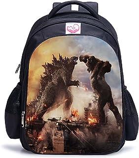 Godzilla Backpack Godzilla vs Kong School Bags Student Lunch Bag Shoulder Bag 3D Bags (28,M)