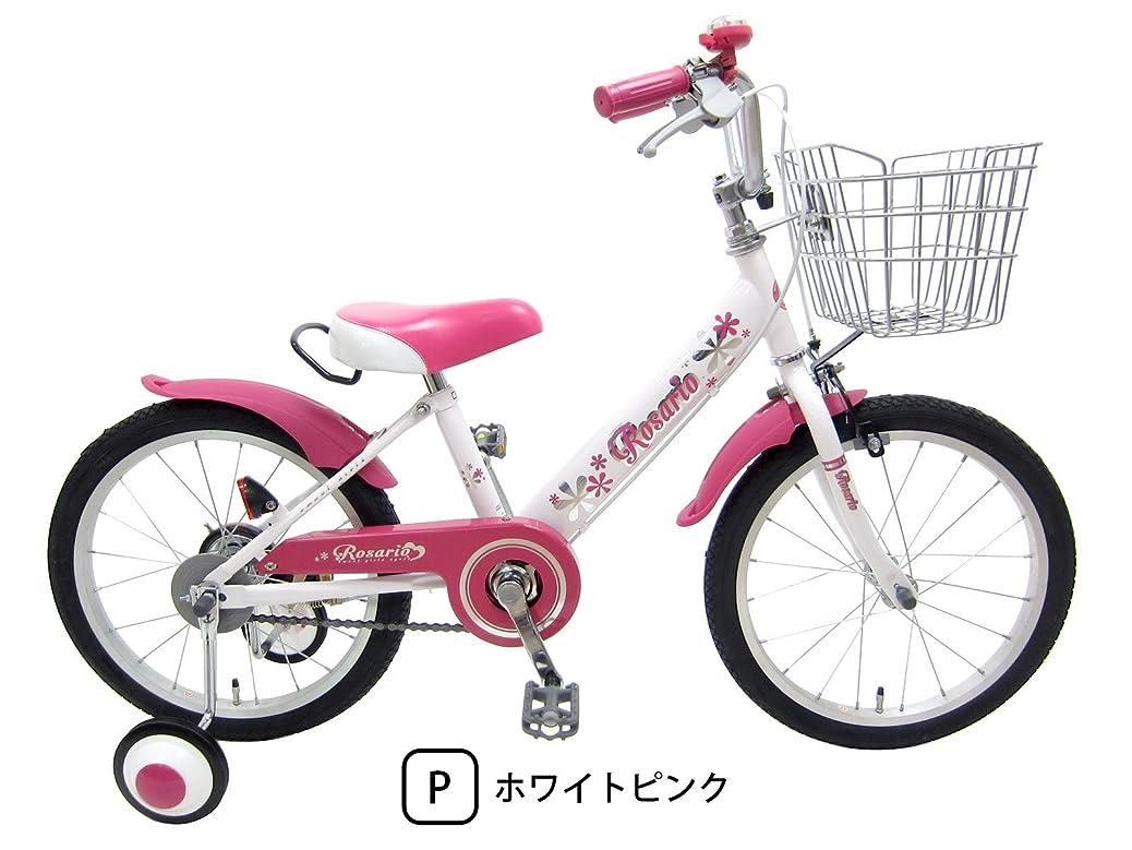 被る乏しい煩わしいロサリオ 18インチ ホワイトピンク 補助輪付き 組み立て式 子供用自転車 幼児自転車