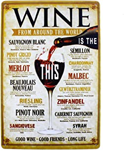 Best 12x8 Inches Pub,bar,Home Wall Decor Souvenir Hanging Metal Tin Sign Plate Plaque (Wine) Review