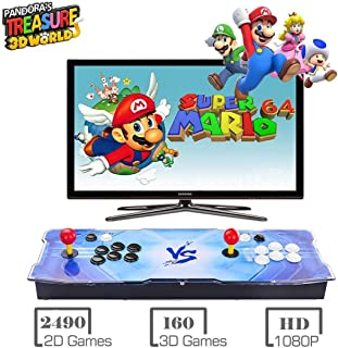 Pandora Treasure 3D Arcade Console, 2650 Retro HD Games, Search Games, Add More Games, 1920x1080 Full HD, Support Multiplayer Online, 2 Player Game Controls, HDMI/VGA/USB/AUX Audio Output (Blue VS)