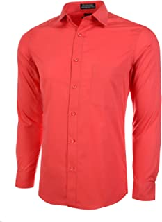 Marquis Slim Fit Dress Shirt - Smoked Salmon,Large 16-16.5 Neck 34/35 Sleeve