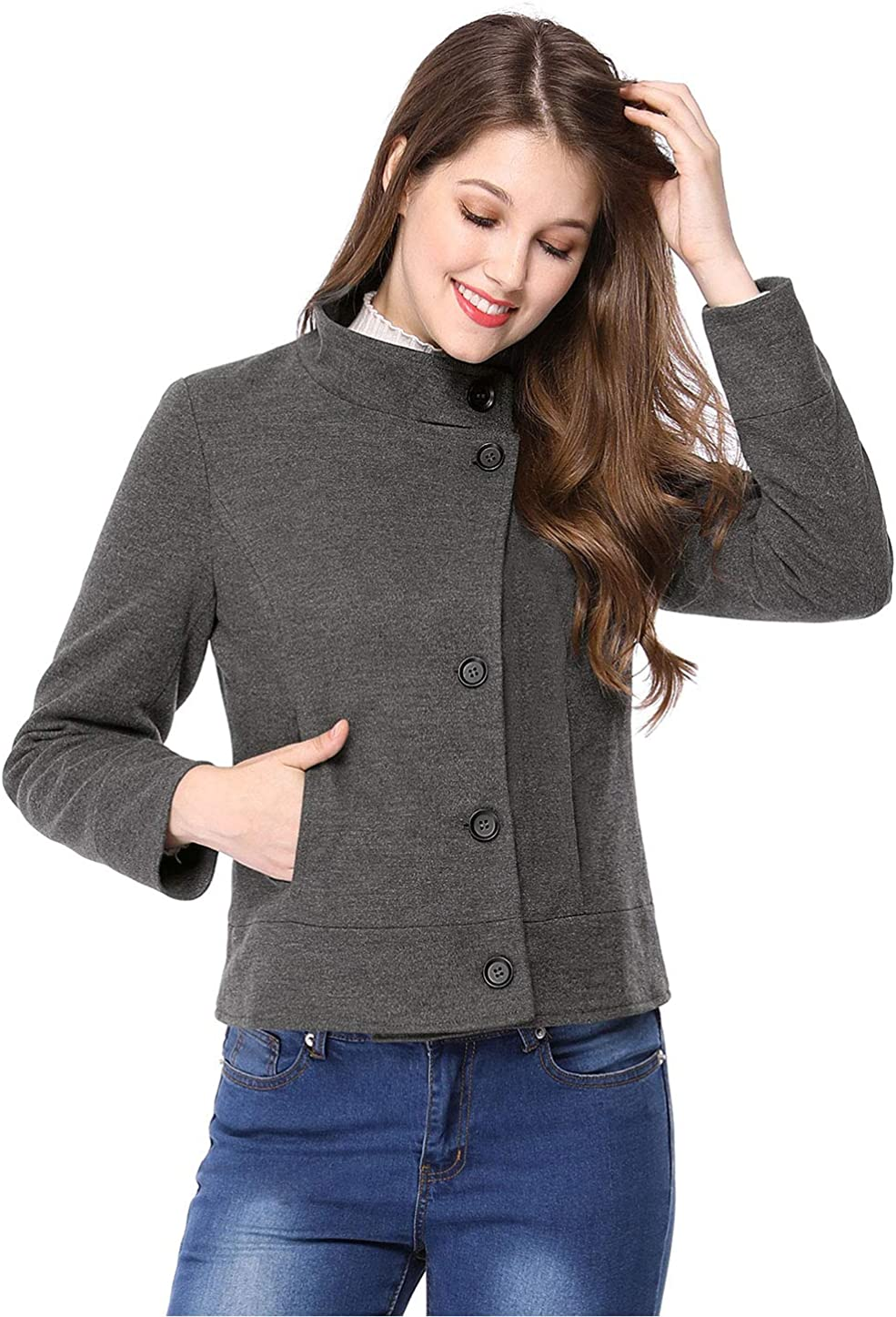 Allegra Albuquerque Mall K Women's Stand Collar Breasted Pocket Slant Single A surprise price is realized Coat