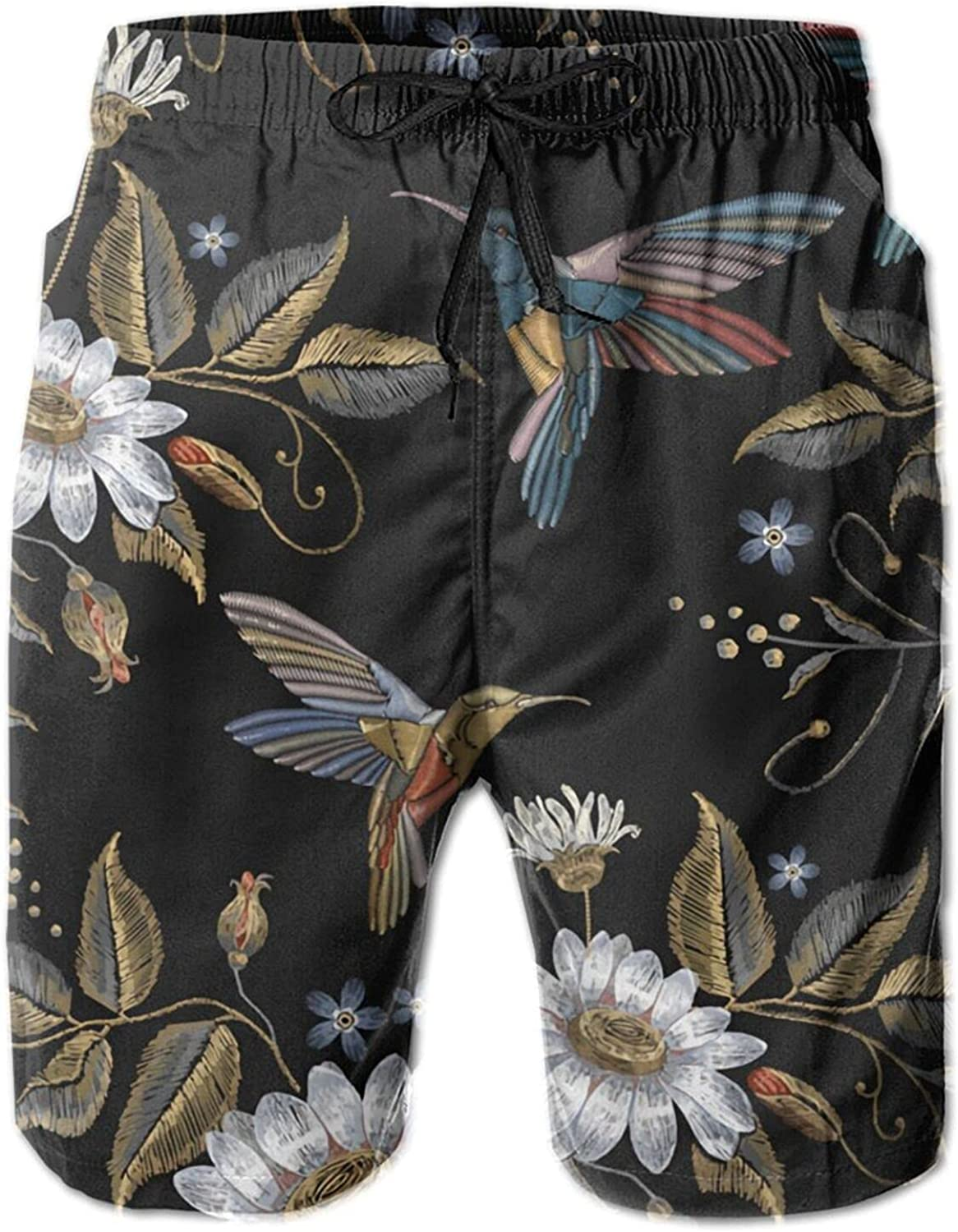 Humming Bird Chamomile The Arts Beach Shorts Mens Swim Trunks Quick Dry Board Pants with Pockets & Mesh Lining