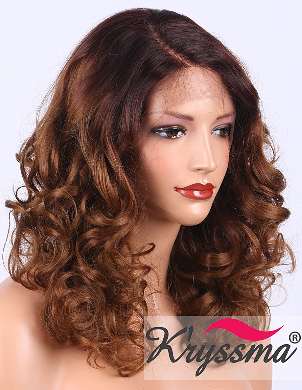 K'ryssma Curly Lace Front Wig for Women Medium Length L Part Deep Parting Ombre Brown Glueless Synthetic Wigs Half Hand Tied Replacement Full Wig #4/30 (KMLM007)