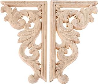 2pcs Bois Sculpture Bois Sculpté en Coin Vintage Applique pour Maison Porte L'armoire Décalque de Sculpture sur Bois Non P...