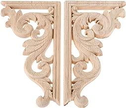 2pcs izquierda +derecha (each 1pcs) Decoración de la pared de los muebles de la esquina tallada de madera de la vendimia Applique sin marco del capítulo