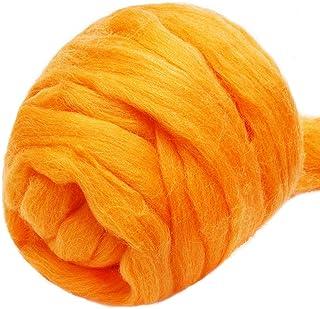 Felting wool light orange roving cantaloupe orange wool roving Spinning Fiber orange sherbet wool roving