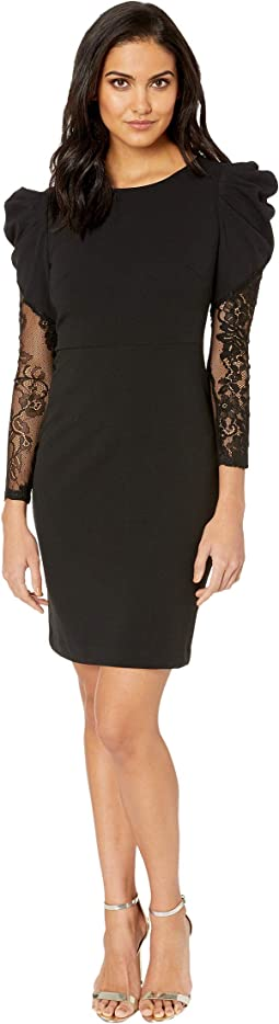 Scuba Crepe Dress with Structured Shoulders and Lace Sleeves