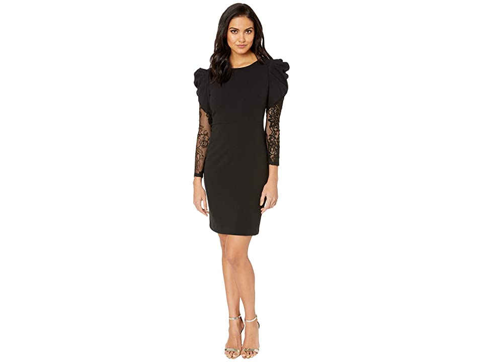 Betsey Johnson Scuba Crepe Dress with Structured Shoulders and Lace Sleeves (Black) Women
