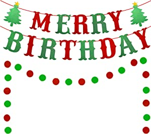 Merry Birthday Banner, Red & Green Glittery Christmas Birthday Banner Christmas Happy Birthday Banner for Christmas Birthday Party Decorations, Christmas Holiday Party Decorations, Xmas Birthday Decor