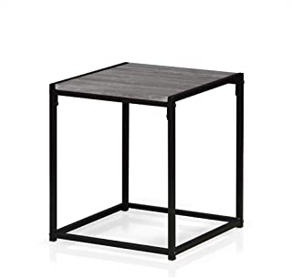 Furinno Modern End Table, 1-Tier, French Oak Grey