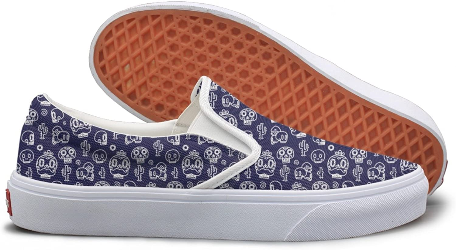 Lalige Skulls Womens Breathable Canvas Slip-ONS Travel shoes