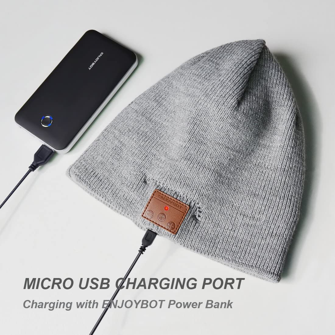 Enjoybot Bluetooth Beanie Wireless Knit Winter Hats Cap with Built-in Stereo Speakers and Microphone for Outdoor Sports Gray