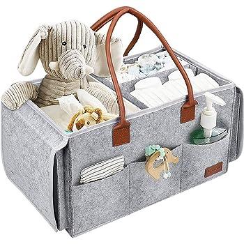 NEENY Baby Windel Caddy Tragbar Wickel Organizer Multifunktionale Wickeltasche Aufbewahrungsbox mit Wechselbaren F/ächer f/ür Kinderzimmer Auto /& Reisen Grau GRATIS 2 L/ätzchen /& 2 Schnuller-Clips