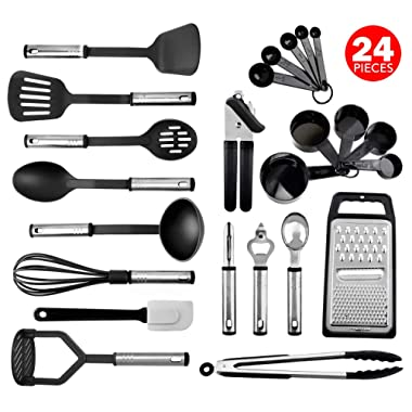Kitchen Utensil Set 24 Nylon and Stainless Steel Utensil Set, Non-Stick and Heat Resistant Cooking Utensils Set, Best Kitchen Tools, Useful Pots and Pans Accessories and Kitchen Gadgets (Black)