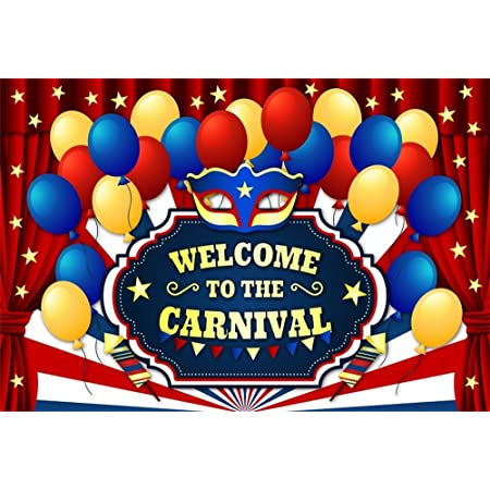 Carnival Party Backdrop 5x3ft Holiday Celebrate Grey Polyester Photography Background Colorful Balloons Candy Mask Fireworks Bowknot Cute Caps Birthday Portraits Shoot Photo Prop Decor Banner