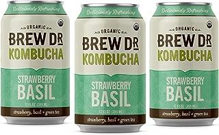 Brew Dr Strawberry Basil, Raw Organic Kombucha, 12 Fl oz Can (3 Pack)
