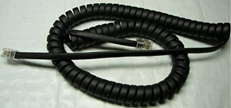 25 Pack of Flat Black (Charcoal) 9 Ft Handset Cord for Yealink IP Phone SIP T4 T4S Series T40P T41P T41S T42P T42S T46 T46G T46S T48 T48G T48S T49G T52S T56A T58A AC Curly Coil Lot by DIY-BizPhones